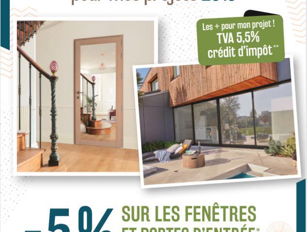 bénéficiez de -5% sur les fenêtres et portes d'entrées Bois-Aluminium
